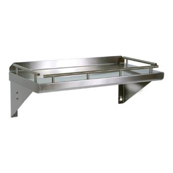 "JHBGRWS36 - John Boos - GRWS36 - 36"" x 12"" Deluxe Galley Rail Wall Shelf Product Image"