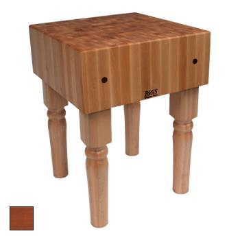 "JHBAB07CR - John Boos - AB07-CR - 30"" x 30"" Cherry Stain AB Block w/ Casters Product Image"
