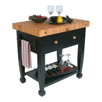 John boos jasmn24243 d s bk 24 black jasmine maple tabl etundra - Butcher block kitchen work table ...