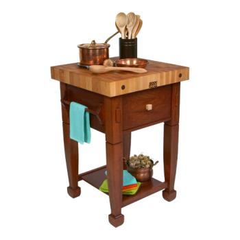 "JHBJASMN24243DSCR - John Boos - JASMN24243-D-S-CR - 24"" Cherry Stain Jasmine Maple Table  Product Image"