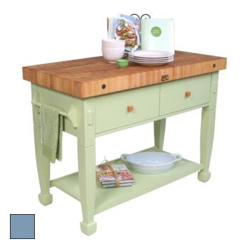 "JHBJASMN482432DSSB - John Boos - JASMN48243-2D-S-SB - 48"" Blue Jasmine Maple Table  Product Image"