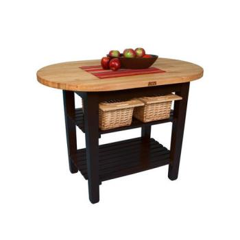 JHBCELIP6030175SBK - John Boos & Co. - C-ELIP6030175-S-BK - 60 in Black Eliptical Table with Shelf Product Image