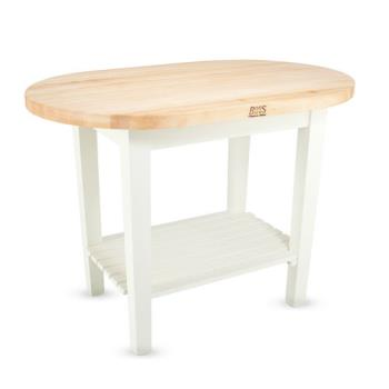 JHBCELIP4830175SAL - John Boos - C-ELIP4830175-S-AL - 48 in Alabaster Eliptical Table w/ Shelf Product Image