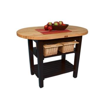 JHBCELIP4830175SBK - John Boos - C-ELIP4830175-S-BK - 48 in Black Eliptical Table with Shelf Product Image