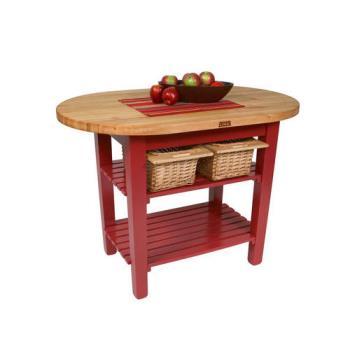 "JHBCELIP4830175SBN - John Boos - C-ELIP4830175-S-BN - 48"" Barn Red Eliptical Table w/ Shelf Product Image"