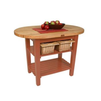 JHBCELIP4830175SCR - John Boos - C-ELIP4830175-S-CR - 48in Cherry Stain Eliptical Table w/ Shelf Product Image