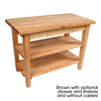 "JHBC06CD2S - John Boos - C06C-D-2S - 48"" x 30"" Country Table w/ Drawer, (2) Shelves & Casters Product Image"