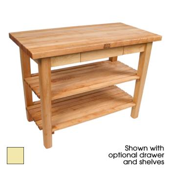 "JHBC3624DSBY - John Boos - C3624-D-S-BY - 36"" Buttercup Classic Country Table w/ Drawer & Shelf Product Image"