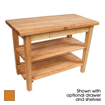 "JHBC3624CDSTG - John Boos - C3624C-D-S-TG - 36"" Tangerine Classic Country Table w/ Drawer, Shelf & Casters Product Image"