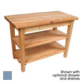 "JHBC3624CSB - John Boos - C3624C-SB - 36"" Sport Blue Classic Country Table w/ Shelf & Casters Product Image"