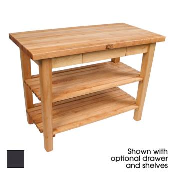 "JHBC48242SEP - John Boos - C4824-2S-EP - 48"" Eggplant Classic Country Table w/ (2) Shelves Product Image"