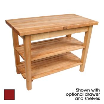 "JHBC4824D2SBN - John Boos - C4824-D-2S-BN - 48"" Barn Red Classic Country Table w/ Drawer & (2) Shelves Product Image"