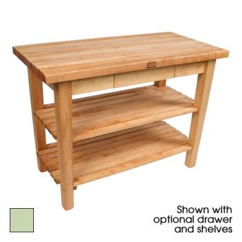 "JHBC4824D2SS - John Boos - C4824-D-2S-S - 48"" Sage Classic Country Table w/ Drawer & (2) Shelves Product Image"
