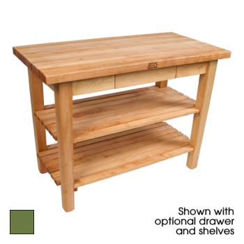"JHBC48362SBS - John Boos - C4836-2S-BS - 48"" x 36"" Basil Classic Country Table w/ (2) Shelves Product Image"