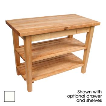 "JHBC4836CDSAL - John Boos - C4836C-D-S-AL - 48"" x 36"" Alabaster Classic Country Table w/ Drawer, Shelf & Casters Product Image"