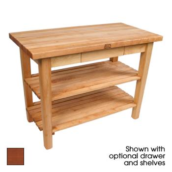 "JHBC4836CDSCR - John Boos - C4836C-D-S-CR - 48"" x 36"" Cherry Stain Classic Country Table w/ Drawer, Shelf & Casters Product Image"