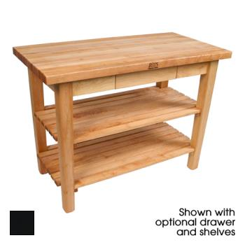 "JHBC6036CD2SBK - John Boos - C6036C-D-2S-BK - 60"" x 36"" Black Classic Country Table w/ Drawer, (2) Shelves & Casters Product Image"