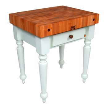 "JHBCHYCUCR04AL - John Boos - CHY-CUCR04-AL - 30"" Cherry Rustica Table w/ Alabaster Base Product Image"