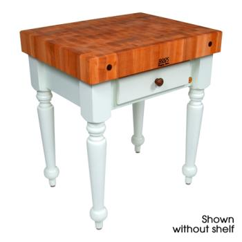 "JHBCHYCUCR04SHFAL - John Boos - CHY-CUCR04-SHF-AL - 30"" Cherry Rustica Table w/ Shelf Product Image"