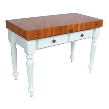 "JHBCHYCUCR05AL - John Boos - CHY-CUCR05-AL - 48"" Cherry Rustica Table w/ Alabaster Base Product Image"