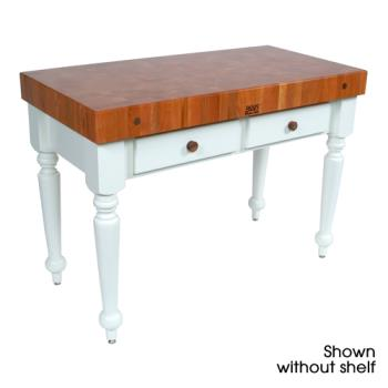 "JHBCHYCUCR05SHFAL - John Boos - CHY-CUCR05-SHF-AL - 48"" Cherry Rustica Table w/ Shelf Product Image"