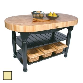 "JHBCUHAR60BY - John Boos - CU-HAR60-BY - 60"" Buttercup Yellow Harvest Table Product Image"