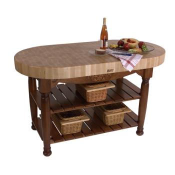 "JHBCUHAR60CR - John Boos - CU-HAR60-CR - 60"" Cherry Stain Harvest Table Product Image"