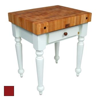 "JHBCUCR04BN - John Boos - CUCR04-BN - 30"" Barn Red Maple Rustica Table Product Image"