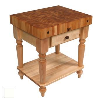 "JHBCUCR04SHFAL - John Boos - CUCR04-SHF-AL - 30"" Alabaster Maple Rustica Table w/ Shelf Product Image"