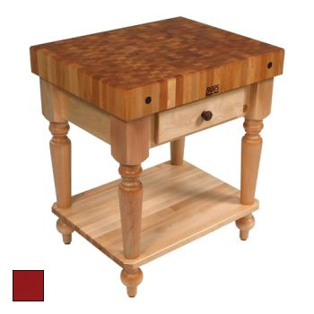 "JHBCUCR04SHFBN - John Boos - CUCR04-SHF-BN - 30"" Barn Red Maple Rustica Table w/ Shelf Product Image"
