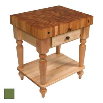 "JHBCUCR04SHFBS - John Boos - CUCR04-SHF-BS - 30"" Basil Maple Rustica Table w/ Shelf Product Image"
