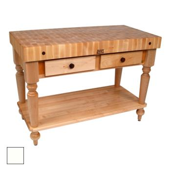 "JHBCUCR05SHFAL - John Boos - CUCR05-SHF-AL - 48"" Alabaster Maple Rustica Table w/ Shelf Product Image"