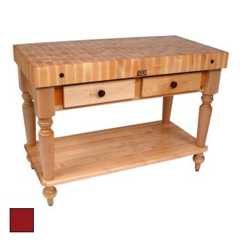 "JHBCUCR05SHFBN - John Boos - CUCR05-SHF-BN - 48"" Barn Red Maple Rustica Table w/ Shelf Product Image"