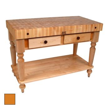 "JHBCUCR05SHFTG - John Boos - CUCR05-SHF-TG - 48"" Tangerine Maple Rustica Table w/ Shelf Product Image"