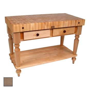"JHBCUCR05SHFUG - John Boos - CUCR05-SHF-UG - 48"" Gray Maple Rustica Table w/ Shelf Product Image"