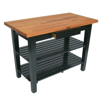"JHBOC36252SAL - John Boos - OC3625-2S-AL - 36"" Alabaster Oak Table w/ (2) Shelves Product Image"