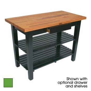 "JHBOC4825D2SAG - John Boos - OC4825-D-2S-AG - 48"" Apple Oak Table w/ Drawer & (2) Shelves Product Image"
