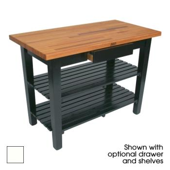 "JHBOC4825D2SAL - John Boos - OC4825-D-2S-AL - 48"" Alabaster Oak Table w/ Drawer & (2) Shelves Product Image"
