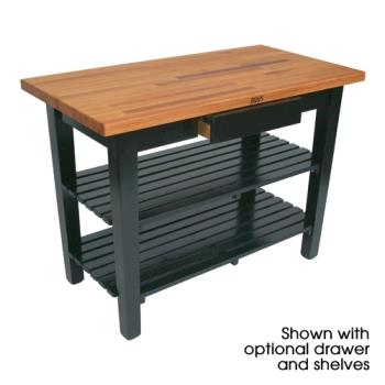 "JHBOC4825D2SBK - John Boos - OC4825-D-2S-BK - 48"" Black Oak Table w/ Drawer & (2) Shelves Product Image"