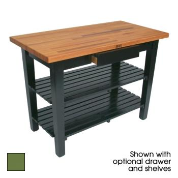 "JHBOC4825D2SBS - John Boos - OC4825-D-2S-BS - 48"" Basil Oak Table w/ Drawer & (2) Shelves Product Image"