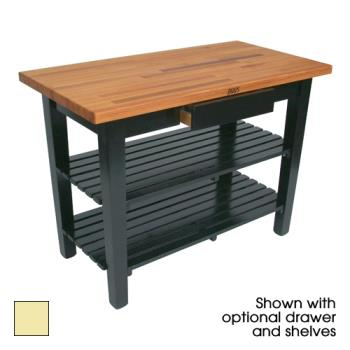 "JHBOC4825D2SBY - John Boos - OC4825-D-2S-BY - 48"" Buttercup Oak Table w/ Drawer & (2) Shelves Product Image"
