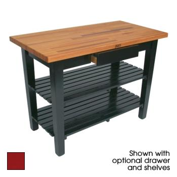 "JHBOC4830D2SBN - John Boos - OC4830-D-2S-BN - 48"" x 30"" Barn Red Oak Table w/ Drawer & (2) Shelves Product Image"