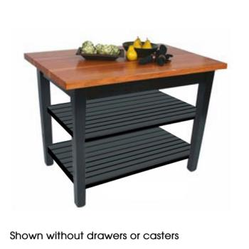 "JHBRNC4824CD2S - John Boos - RN-C4824C-D-2S - 48"" x 24"" Le Classique Table w/ Drawer, (2) Shelves & Casters Product Image"