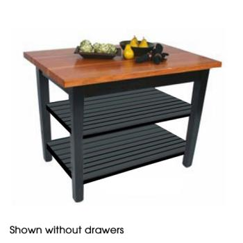 "JHBRNC60242D2S - John Boos - RN-C6024-2D-2S - 60"" x 24"" Le Classique Table w/ (2) Drawers & (2) Shelves Product Image"