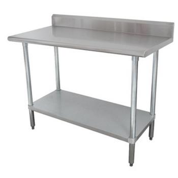 ADVKMS249 - Advance Tabco - KMS-249 - 108 in x 24 in Stainless Steel Work Table w/ S/S Undershelf and 5 in Backsplash Product Image