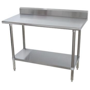 ADVKMSLAG244X - Advance Tabco - KMSLAG-244-X - 48 in x 24 in Stainless Steel Work Table w/ S/S Undershelf and 5 in Backsplash Product Image