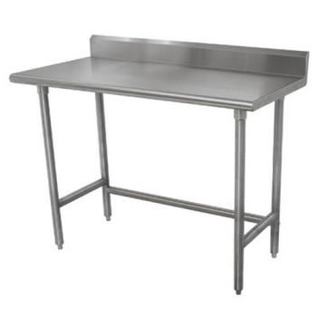 ADVTKMSLAG244X - Advance Tabco - TKMSLAG-244-X - 48 in x 24 in Stainless Steel Work Table w/ Open Base and 5 in Backsplash Product Image