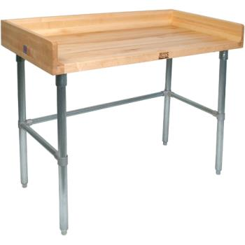 "JHBDNB17 - John Boos - DNB17 - 96"" x 36"" Wood Top Riser Work Table w/Open Base Product Image"