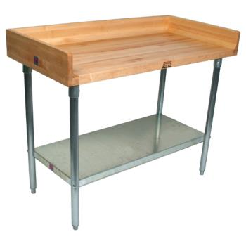 "JHBDNS11 - John Boos - DNS11 - 96"" Wood Top Riser Work Table w/Fixed Shelf Product Image"