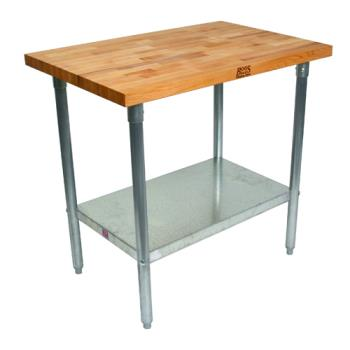 "JHBJNS09 - John Boos - JNS09 - 48"" Wood Top Work Table w/Fixed Shelf Product Image"